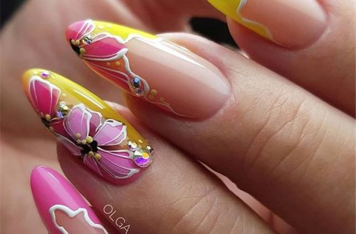 Best Almond Flowers Nail Designs ;Almond Flowers Nail Designs ;Almond Nail ;Flowers Nail #BestAlmondFlowersNailDesigns #AlmondFlowersNailDesigns #AlmondNail #FlowersNail